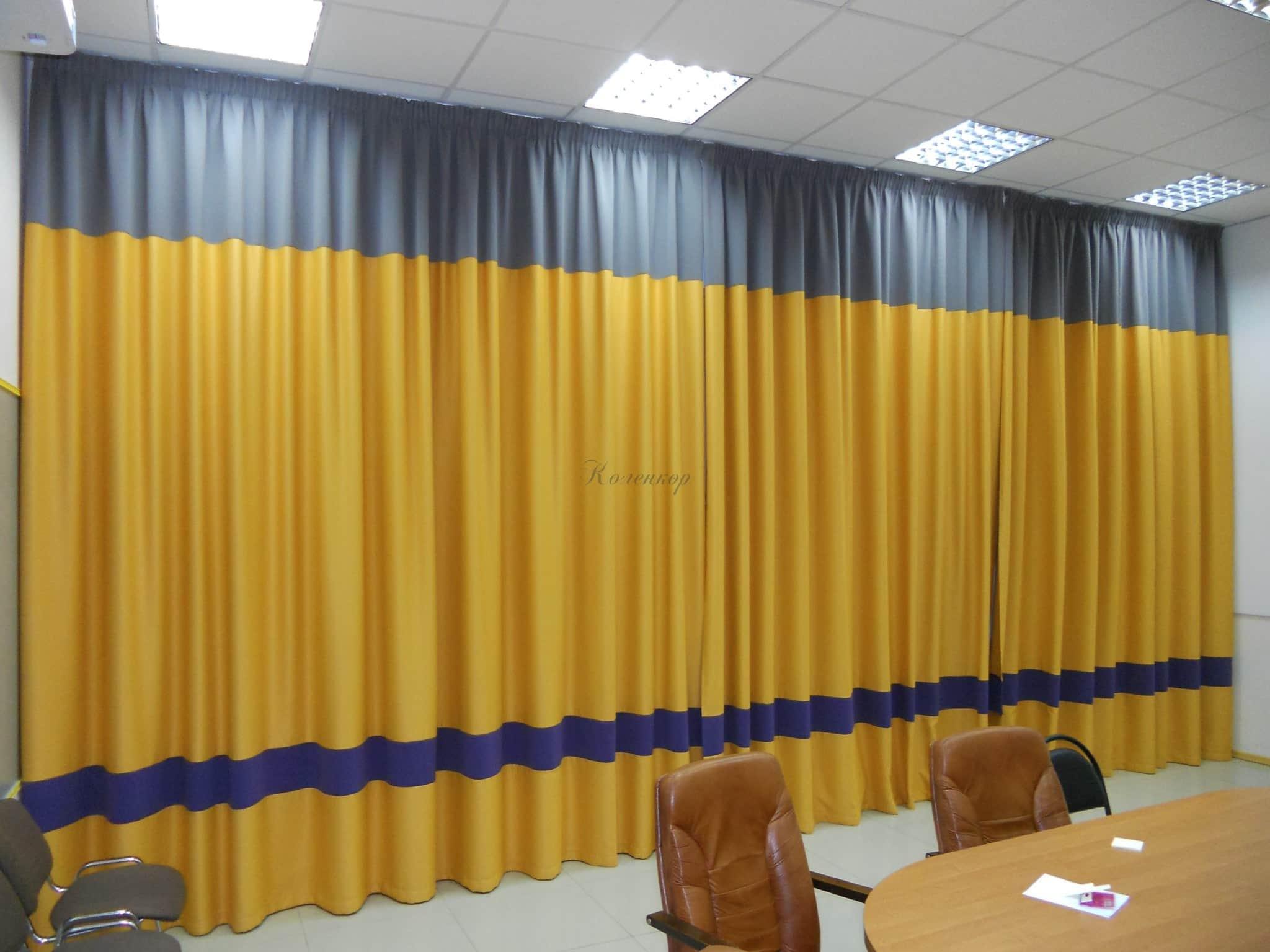 Желтые шторы в интерьере