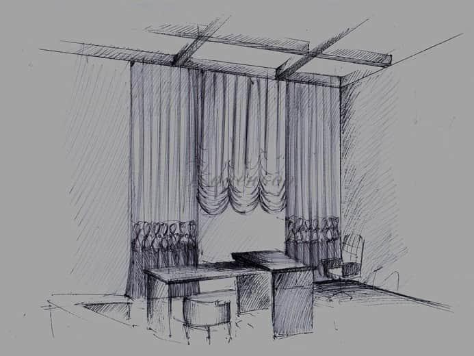 Эскиз оформления кабинета французскими шторами