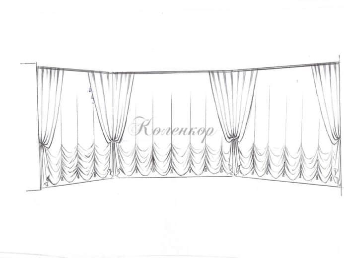Эскиз оформления большой комнаты французскими шторами