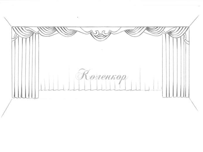 Эскиз римских штор для гостиной от Коленкор