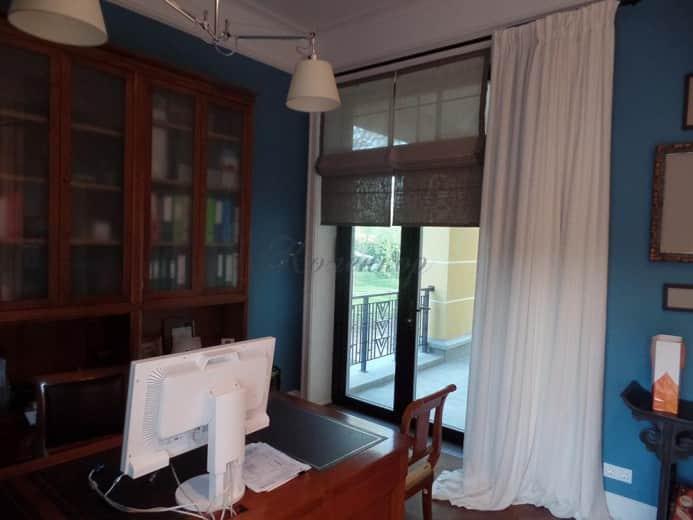 Римские шторы в кабинет для панорамных окон